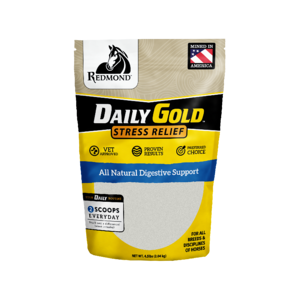 Daily Gold horse calmer buffers acid and relieves anxiety in horses.