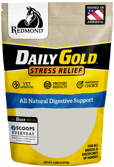Daily Gold horse supplement provides digestive support and stress relief for horses.