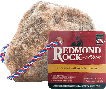 Redmond Rock on a Rope has 60+ trace minerals and electrolytes for horses.