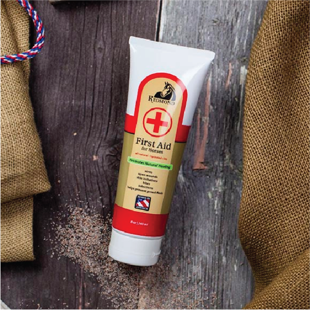 Ingredients in Redmond First Aid for Horses, a natural bentonite clay-based type of horse wound care.