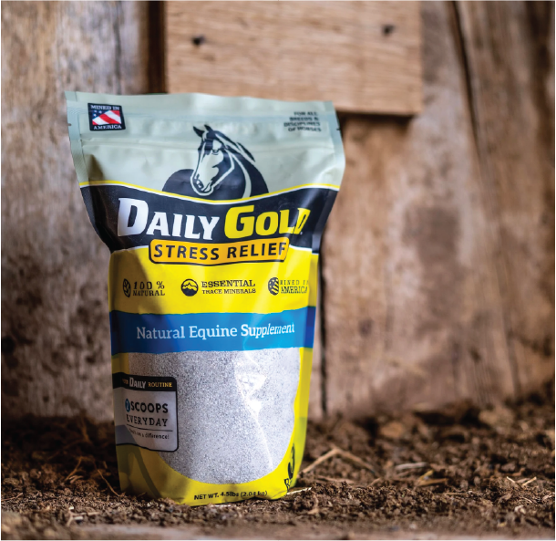 Redmond Daily Gold Stress Relief has 60+ loose minerals for horses.